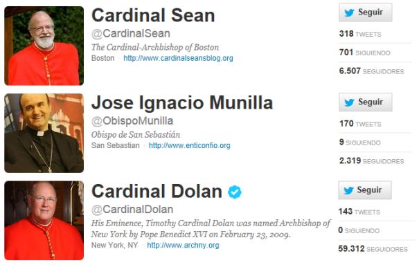 Algunos obispos y cardenales tienen perfiles activos en Twitter